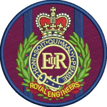 RE Cap badge on TRF embroidered Badge